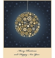 Fir tree bauble from gold and golden snowflakes vector image