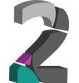 3d font number 2 vector image