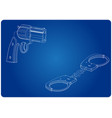 3d model of handcuffs and a revolver on a blue vector image