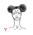 aries zodiac beautiful fashion girl vector image