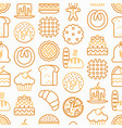 bakery seamless pattern with thin line icons vector image vector image