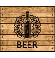 beer bottle on wooden box vector image vector image
