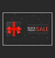 black friday sale gift box with red ribbon vector image
