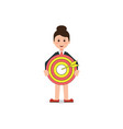 business woman holding big aim target bravely vector image