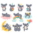 cartoon birthday koalas lazy koala sleeping on vector image vector image
