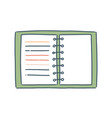 cartoon notebook with spiral flat vector image