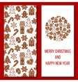 Christmas card Cozy Xmas gingerbred greetings vector image vector image