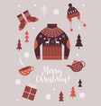christmas card winter clothes vector image