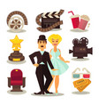 cinema template set of symbols on white vector image
