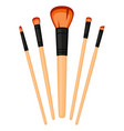 colorful cartoon make up brush set vector image vector image