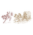 cowboys in the carriage vintage horse harness or vector image