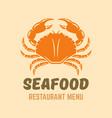crab seafood restaurant menu logo template vector image