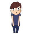 cute cartoon boy with surprise emotions vector image