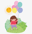cute girl with hairstyle game with balloons vector image vector image