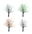 four tree silhouette season nature vector image
