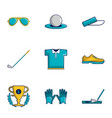 golf tournament icons set cartoon style vector image vector image