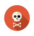Halloween skull flat circle icon over red vector image