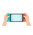 Hands holding portable gaming console vector image vector image