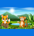 happy animals and beautiful natural scenery with m vector image vector image