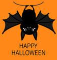 happy halloween bat hanging on rope cute cartoon vector image vector image