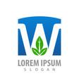 letter w blue with leaf concept design symbol vector image vector image