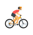 male athlete riding bike cyclist character on vector image vector image