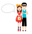 man and woman with empty speech bubble isolated vector image vector image