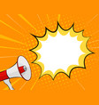 megaphone and speech bubble in pop art style vector image vector image