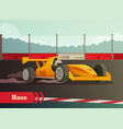 motor race flat composition vector image vector image