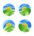 nature round landscape icon yellow sunrise in the vector image