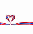 norwegian flag heart-shaped ribbon vector image
