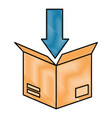 packing box carton with arrow down vector image vector image