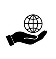 palm out hand holding wire globe earth world vector image
