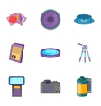 Photo studio icons set cartoon style
