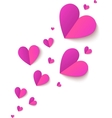 Pink cutout paper folded hearts vector image vector image