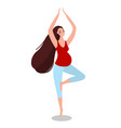pregnant woman in yoga asana vector image