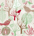 Retro abstract birds background vector image vector image
