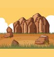 scene with rocky mountain and field vector image