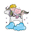 scribbled sleeping boy with heart and unicorn in vector image