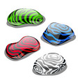 set of four stones with polished surface and color vector image vector image