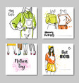 set of greeting cards with love my mom lettering vector image vector image