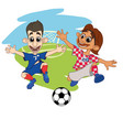 soccer players play the ball at the stadium croat vector image