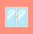 traditional white window frame isolated on orange vector image