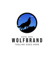 wolf howling logo design vector image vector image