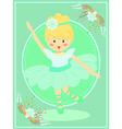 Cute Turquoise Ballerina Girl vector image