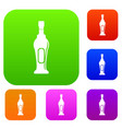 alcohol bottle set color collection vector image vector image