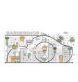 barbershop concept flat line art vector image