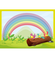 Birds watching the rainbow vector image vector image