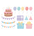 birthday cake hats gift boxes balloons pennants vector image vector image