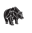 black and white engrave isolated bear vector image vector image